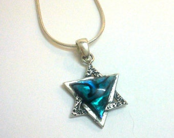 star of david magen david silver abalone amazing necklace