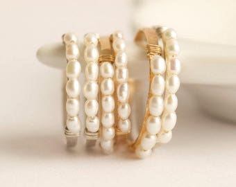 Tiny Pearl Ring. Freshwater Pearl Ring. White Pearl Ring. Dainty Pearl Ring. Tiny Dainty White Freshwater Pearl Ring.