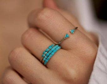 Turquoise Ring. Dainty Sleeping Beauty Turquoise Band Ring. Turquoise Band Ring. Sleeping Beauty Turquoise Ring. Small Turquoise Ring.