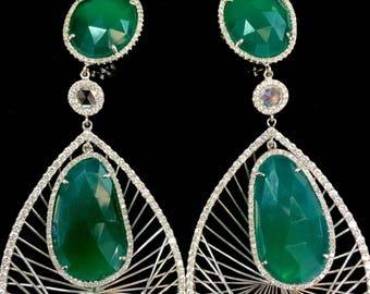 18K White Gold Green Onyx And Diamond Chandelier Earrings