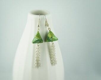 """Cheops"" earrings, origami paper"