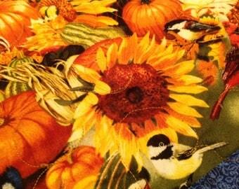 Autumn Pumpkin Harvest Table Runner, 42x18.5 Inch, Cotton, Machine Quilted,
