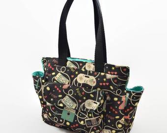 Retro Gamer Mini Tote Handbag - Girl Gamer Handbag - Super Nintendo, NES, SNES, GameBoy, Floppy Disk Print Bag, Cute Shoulder Bag
