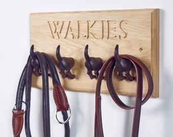 WALKIES - Cast Iron Dog Tail Hooks - Dog's Lead Hanger