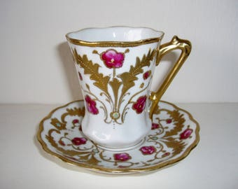 Nippon Chocolate Cup Saucer Raised Gold Hand Painted Art Nouveau