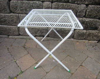 Vintage Mid Century Mesh Metal  Folding Patio Table Outdoor Plant Stand NOS
