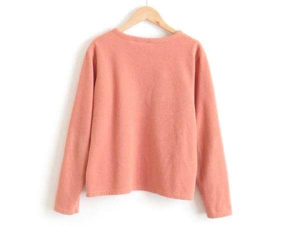 Millennial Pink Sweater Fuzzy Fleece Pullover Sweater Fuzzy