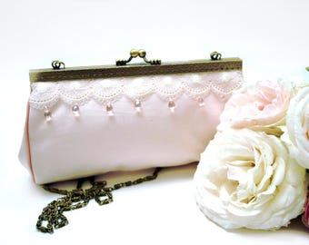 Powder Pink retro clutch bag embroidered for the bride
