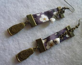 Liberty purple matryoshka earrings