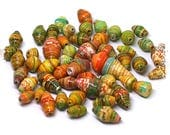 Multicolor paper beads, Orange rolled paper beads, Eco-friendly, Destash, Boho chic components, Jewelry supplies, Craft supplies