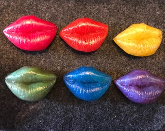 Colors of the Rainbow Lip Print Magnets