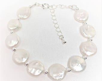 White Pearl Bracelet Coin Pearl Jewellery Sterling Silver Bracelet Freshwater Pearl Gift Adjustable Bracelet Beaded Bracelet Gift For Her