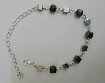 Silver bracelet - 22cm square beads