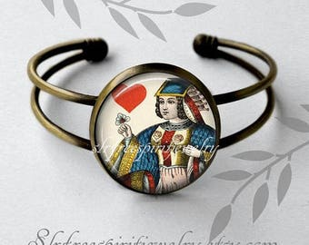 Gift for Bridge Player, Anitque Playing Cards Bracelet, Queen Link Bracelet, Bridge Player Gift, Card Games, Queen of Hearts, Card Suits