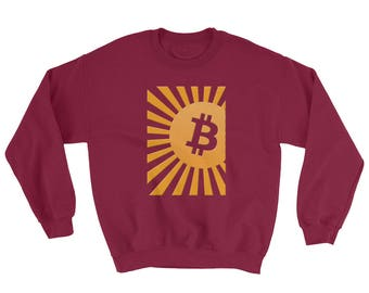 BitCoin Logo Sweatshirt, Bitcoin Cryptocurrency Sweatshirt with Sunburst. Alternative Currency Sweatshirt. Crewneck Sweater. Block Chain.