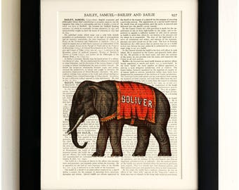 FRAMED ART PRINT on old antique book page - Circus Elephant, Vintage Upcycled Wall Art Print Encyclopaedia Dictionary Page