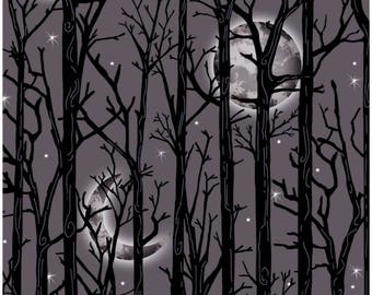 Fright Night Grey Moonlit Trees Halloween Fabric By First Blush Henry Glass Fabrics Sold by the Half Yard In Continuous Cut