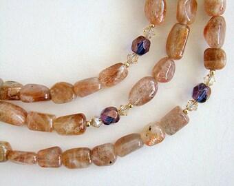Caravanserai Necklace, Sunstone Bead Necklace, Sunstone Gold Swarovski Crystal Necklace, Long Beaded Gemstone Necklace