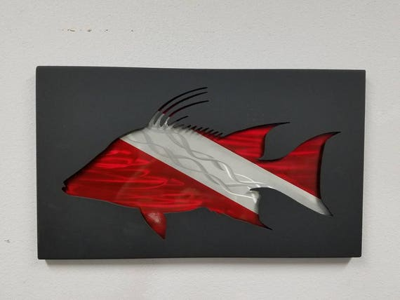 Hogfish Metal Wall Art,  spearfishing Decor,Hogsnapper Home Decor, Handmade Metal Shadowbox, Coastal Living, Wildlife Art, Conservation Gift