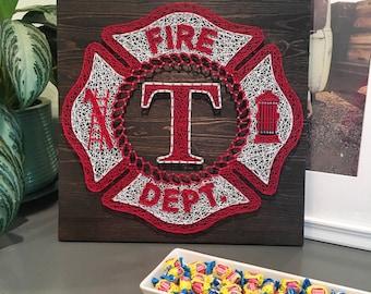 "16"" Firefighter Shield String Art"