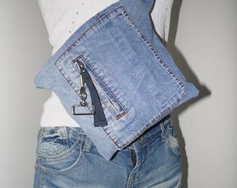 Bag/pouch, denim, recycled denim jeans, denim clutch bag