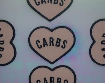 "Peach ""Carbs"" Heart Iron on Patch"