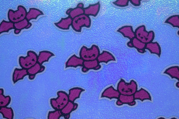 Pink Bat Iron on Patch