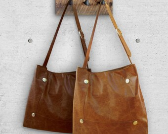 Tan leather tote | Etsy