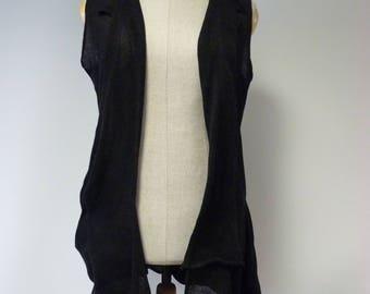 RESERVED FOR Maggie. Boho black linen vest, L size.