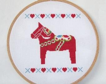 Dala Horse Cross Stitch Pattern-Swedish folklore, PDF, instant download