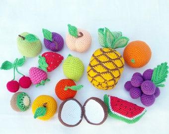 15 pieces - Crochet fruits Sensory toys,  baby decor, kids gift, play Food Set, Summer decor, nursery decor, birthday gifts, Montessori