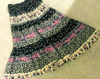 Vintage Carole Little skirt Petite skirt Paris France theme souvenir dancing girls pleated skirt multi color Boho chic skirt
