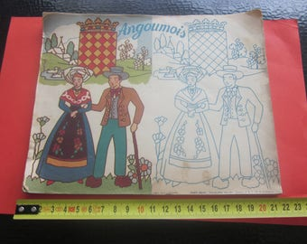 Vintage Coloring book 30 Costumes & Coats of Originals Ancient Provinces of France (New Not Colored) => Make Scroll Scans.