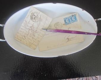 Vintage French desk tray,trinket tray,French Art Deco metal decorative plate-Plateau de bureau,à bibelots,plat décoratif  émaillé blanc bleu