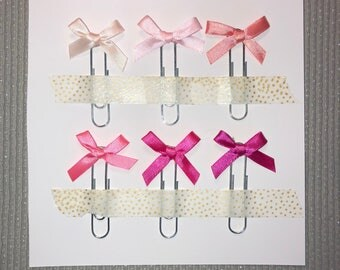 6x Blush Satin Bow Paperclips