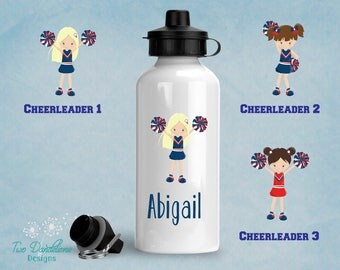 Cheerleading water bottle. Aluminum bottle, personalized water bottle, Cheer gift, coach gift, team gift, chearleader gift, party favor