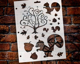 "Nutty Squirrels Stencil - 8 1/2"" x 11"" - STCL116 - by StudioR12"