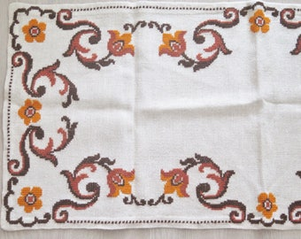 Embroidered Table Cloth Vintage Embroidered Table Decor Handmade Floral Table Decor #3-24