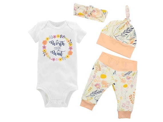 Worth the Wait Onesie Newborn Coming Home Set Bodysuit Infant Outfit Wildflower Yoga Leggings Top Knot Hat Knot Headband Infertility Onesie