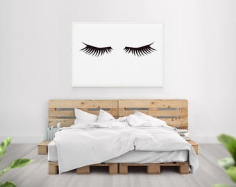 Eyelash Print Artwork / Makeup Room Teenager Beauty Decor / Large Artwork / Bedroom Decor / Over the bed art / Feminine Artwork