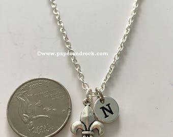 KIDS SIZE - Fleur-de-lis initial necklace, Louisiana necklace, fleur de lis jewelry, Louisiana jewelry, New Orleans necklace, fleur-de-lis
