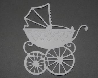 White antique baby carriage cutout