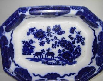 Antique Flow Blue Oblong Bowl, 1800's, Deer And Flower Motif