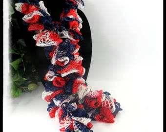 Red, White and Blue Scarf, Patriotic scarves, Ruffled Scarves, Handmade scarves, crochet scarves