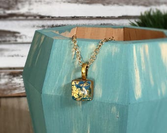 Hand Sculpted and Painted Polymer Clay and Resin Teal Blue and Gold Tiny Pendant Necklace