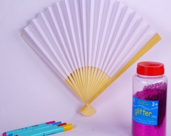 Ready to Decorate Paper Fans with Wooden Handles Pack of 12