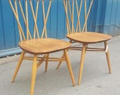 SOLD Pair of 1960s Ercol Chiltern Candlestick Dining Chairs VintageRetroMid Century
