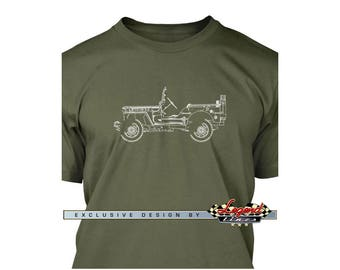 Jeep Willys World War II T-Shirt for Men - Lights of Art - Multiple colors available - Size: S - 3XL - Great American Classic Car Gift