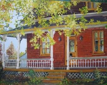 Oil home portrait custom personalized Kim Normandin on canvas on canvas