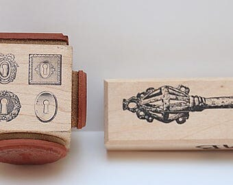 skeleton key and key hole stamps
